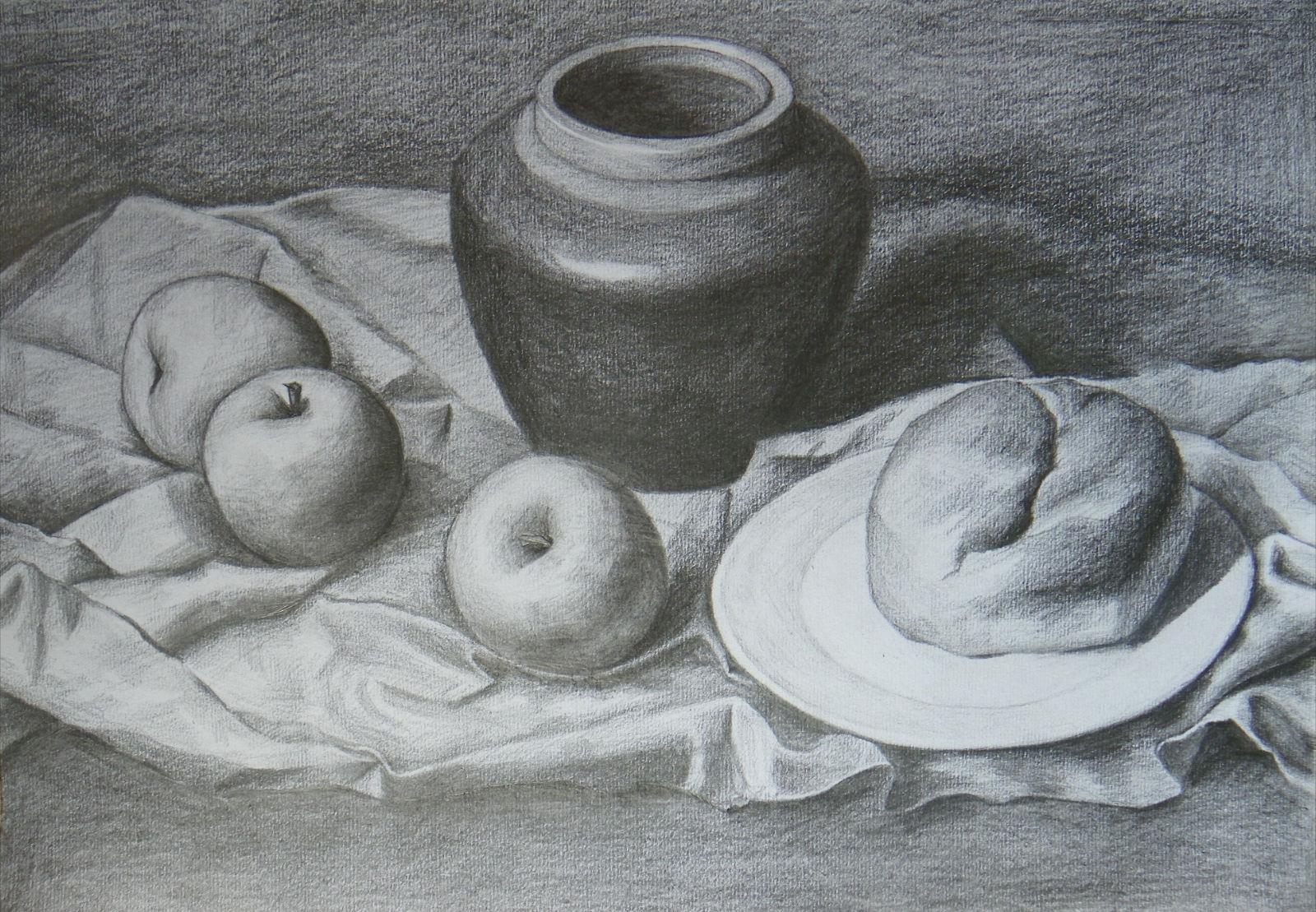 盘子苹果 素描结构